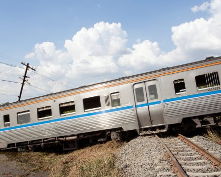 Train out of rail. Accident.